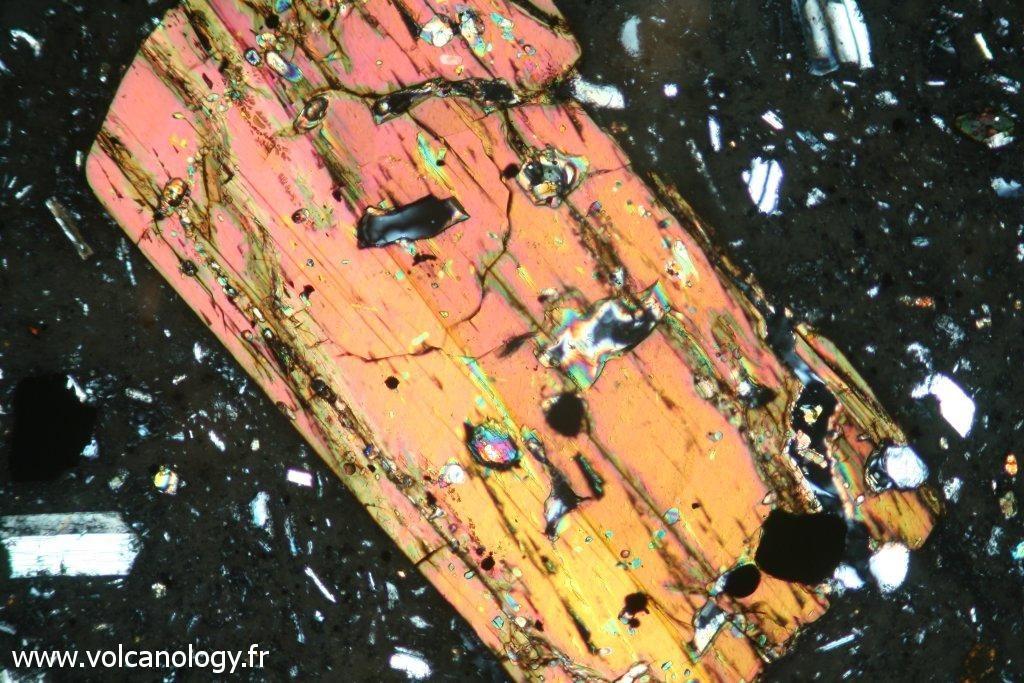 Amphibole brune variété Hornblende (vue en lumière polarisée et analysée - Andésite de Montserrat)