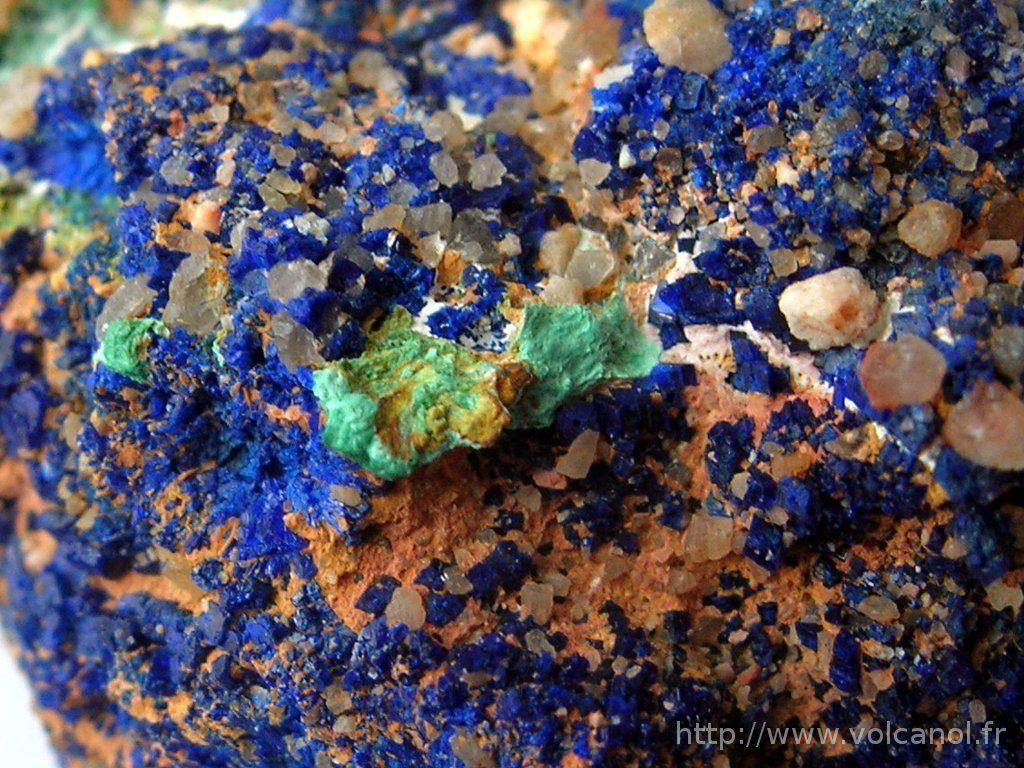 Azurite de Chessy-les-Mines (Rhône 69) - Détail de l'association azurite et malachite