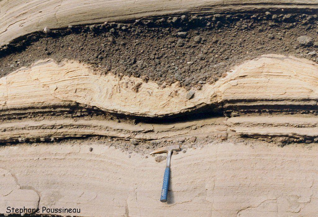 Détail des dépôts de laves des Monts Caraïbes à la Guadeloupe