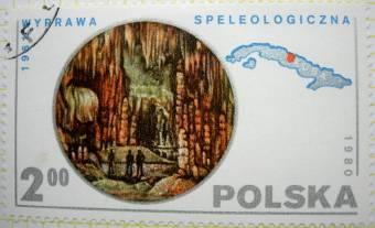 Scène de spéléologie dans une grotte à Cuba (expédition spéléologique polonaise de 1961)