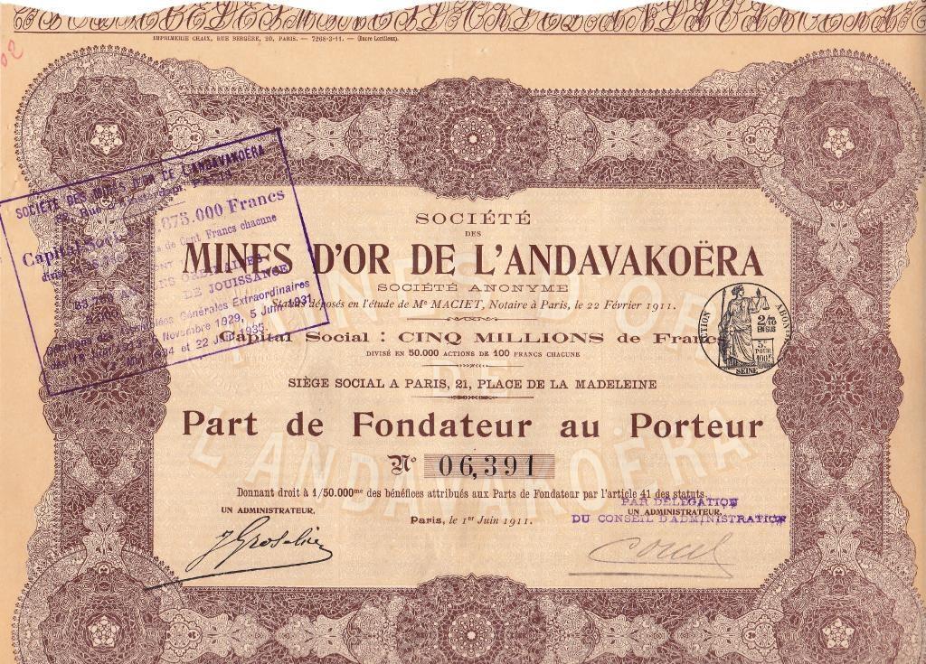 Mines d'or de l'Andavakoëra (Madagascar)