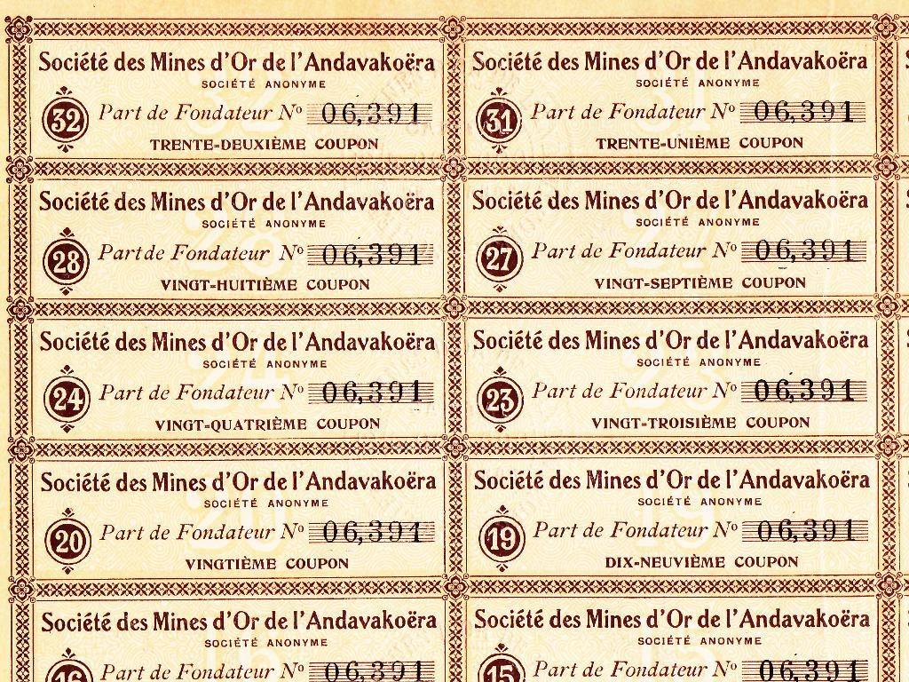 Détail des coupons de l'action minière ancienne des Mines d'or de l'Andavakoëra (Madagascar)