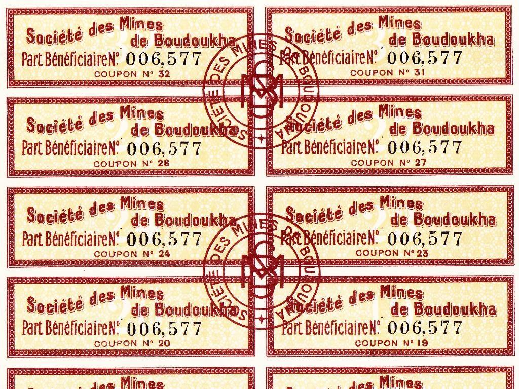 Détail des coupons de l'action minière de la Société des Mines de Boudoukha (Constantine)