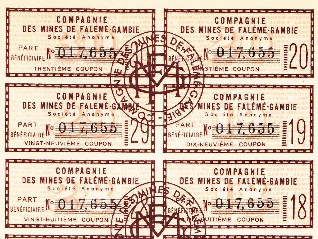 Détail des coupons de l'action minière ancienne de la Compagnie des Mines de Falémé-Gambie