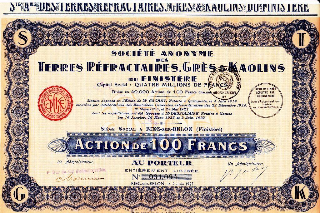 Société anonyme des terres réfractaires, grès et kaolins du Finistère