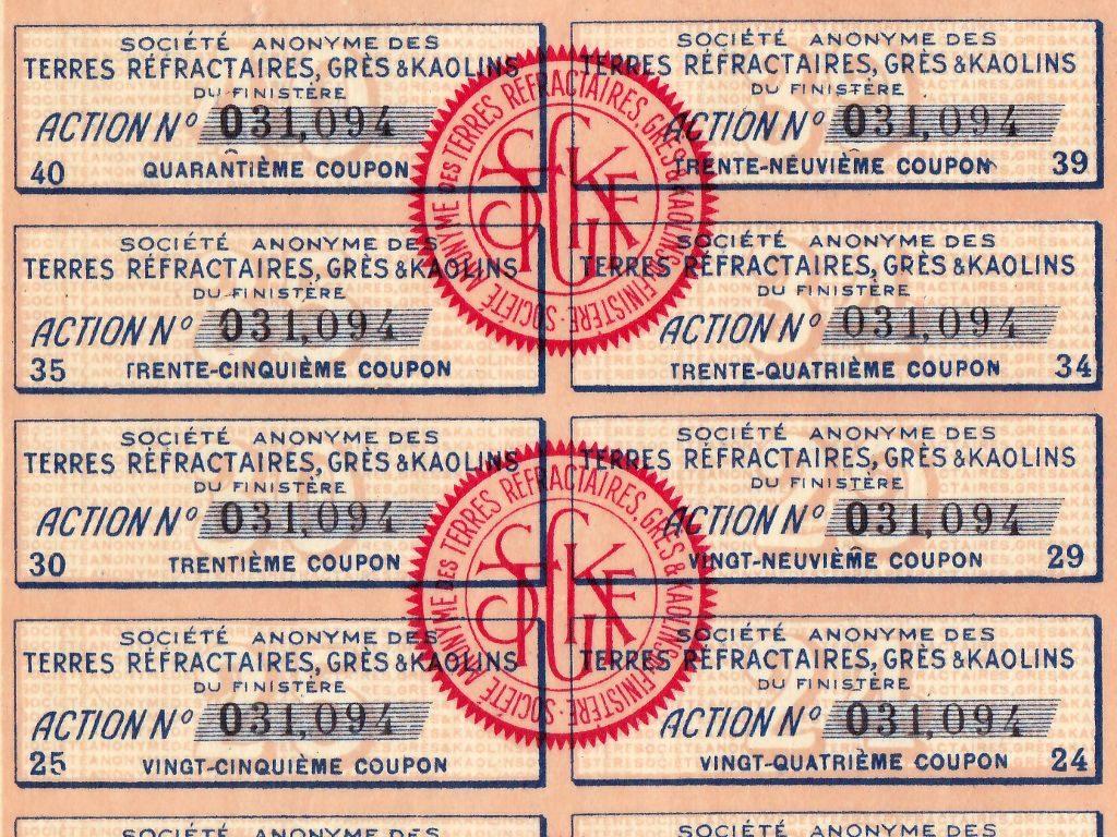 Détail des coupons de l'action minière de la Société anonyme des terres réfractaires, grès et kaolins du Finistère