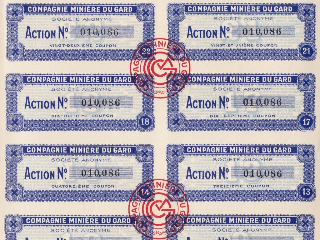 Détail des coupons de l'action minière Compagnie Minière du Gard (France)