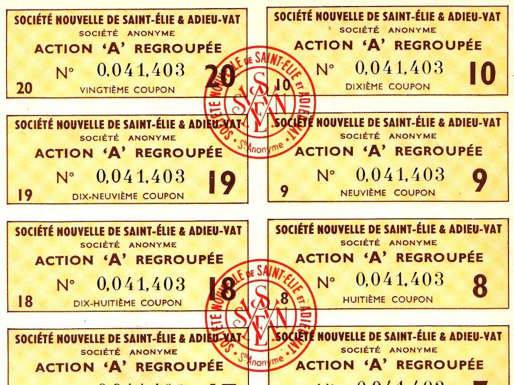 Détail des coupons de l'action minière de la Société nouvelle de Saint-Elie et Adieu-Vat (mine d'or de Guyane)