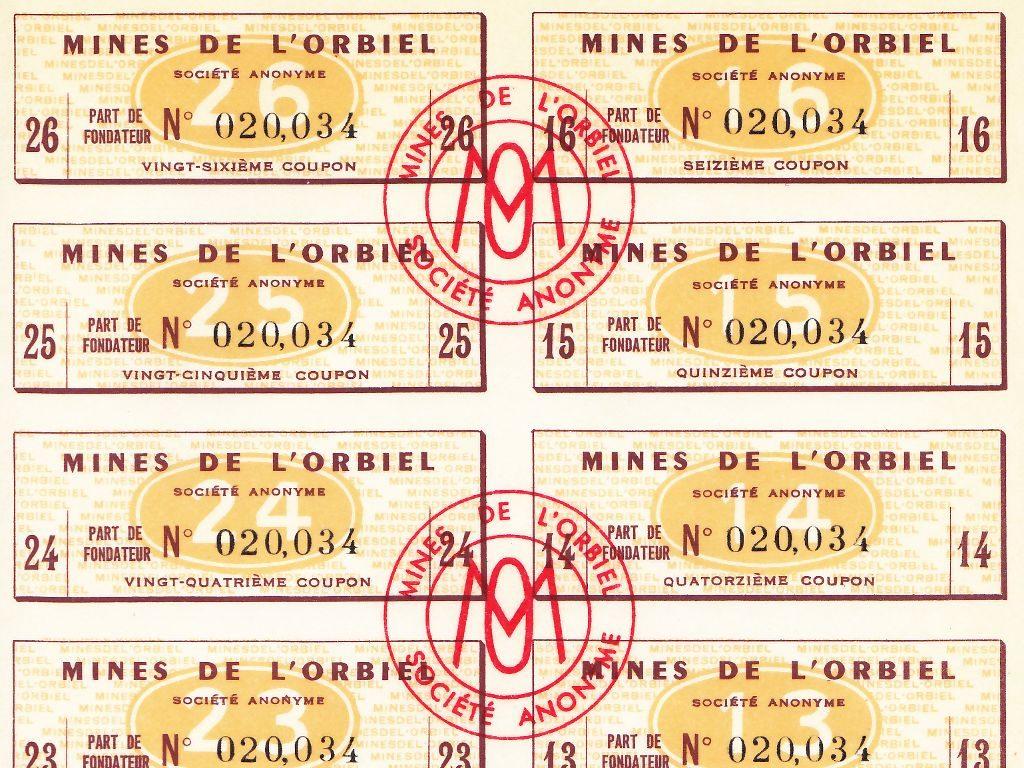 Détail des coupons de l'action des Mines de l'Orbiel