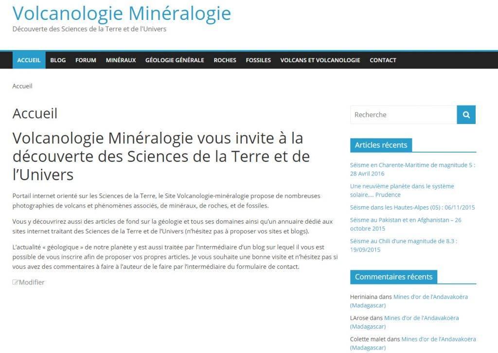 Nouveau site volcanologie minéralogie